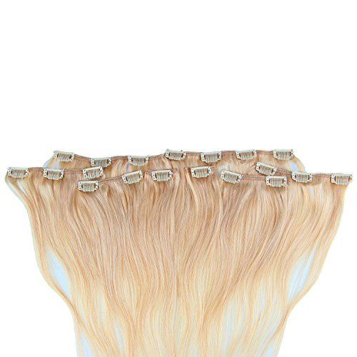 Beauty7 120g Extensions de Cheveux Humains à Clip 100% Remy Hair Haute Qualité #16 Couleur Blonde Foncé Longueur 60 cm