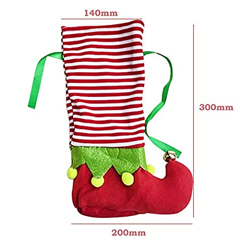 Christmas Wine Bottle Bag Gift for Xmas Gift Dinner Party Table Holiday Decoration-2 Pack(Red&Green) (Christmas Ribbon Clearance)
