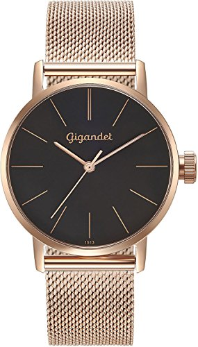 Gigandet Women's Quartz Wrist Watch Minimalism Analogue Stainless Steel Mesh Bracelet Rose Gold Black G43-024