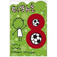 Age 8 Birthday Card - Birthday Card Age 8 - 8th Birthday Card Boy - Football Birthday Card for Kids - Age 8 Birthday Card with Birthday Age 8 Badge