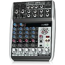 Behringer Q802USB - Mezclador USB de 8 canales (2 entradas para micrófono, 3 bandas, LED), color negro y blanco