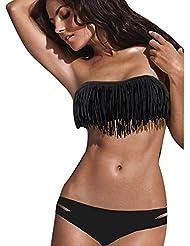 Asvert Maillots de Bain 2 Pièces Bikini à Franges en Nylon Spandex de Style Européen Elasticité Elevée Femme