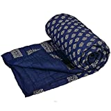 #3: Cloud Mart Rajasthani Print Dark Blue Colour Reversible World Famous Jaipuri Single Bed Quilt/Razai/Rajai/dohar/ac Blanket/falalen/Blue rajai
