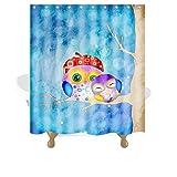 Knbob Duschvorhänge Eule Blau Shower Curtain Inkl. Ringe Wohnaccessoires