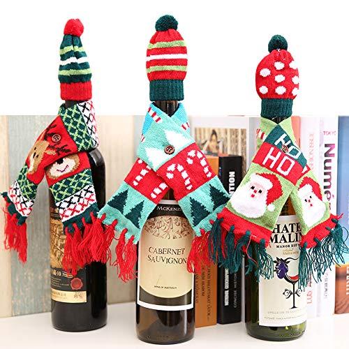 (XYBH 3 Stücke Weihnachten Rotweinflasche Abdeckung Taschen Tisch Abendessen Pullover Home Party Weihnachten Dekoration Schal + Hut)
