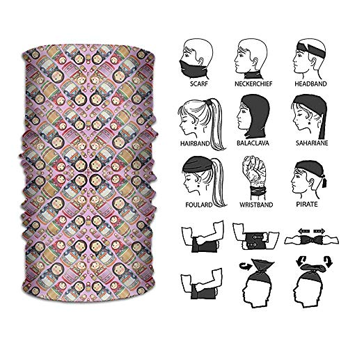 sian Matryoshka Doll Pattern Outdoor Multifunctional Headwear 16 Ways to Wear Your Magic Headwear Scarf ()