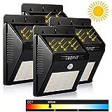 LEDMO 4-Pack 20 LED Lumière Solaire avec Détecteur Modes Intelligents Éclairage mural de Sécurité, pour Jardin, Patio, Pont, Allée, Garage, Exterieur (Blanc Chaud, 3000K)