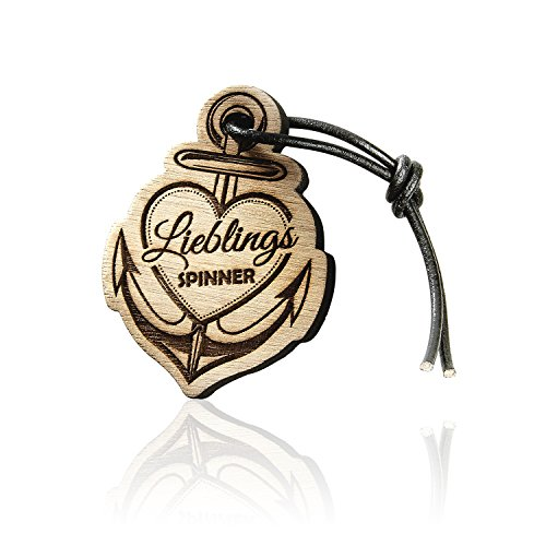 Schlüsselanhänger mit Gravur aus Holz Lieblingsspinner