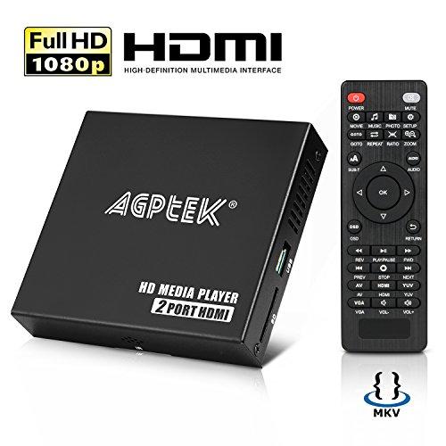 MYPIN Lecteur Multimedia à Double Ports Boîtier Media Player hdmi Mini HD TV Lecteur USB 1080P 4K avec télécommande (1080P-2T)