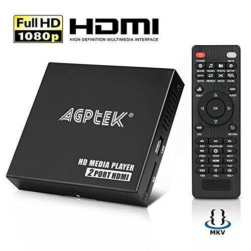 AGPtEK lecteur multimedia boîtier media player hdmi Mini HD TV Lecteur USB 1080P HDMI AV - MKV/RM-SD/USB HDD-HDMI, Soutien HDMI CVBS et YPbPr Sortie vidéo avec télécommande et adaptateur 5V 2A (Noir) (HA0153)