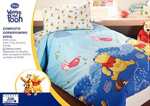 Copripiumino Singolo Winnie The Pooh.Completo Copripiumino Una Piazza Caleffi Dysney Winnie The Pooh Gioia Azzurro N 24