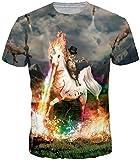 TDOLAH Herren Bunt Galaxy T-Shirt Sport Rundhals Spaß Motiv Tops (Größe M (Tag L), Katze und Einhorn)