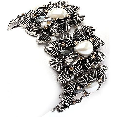 Perla y cristal en forma de lágrima cluster - pulsera de la joyería de la boda nupcial