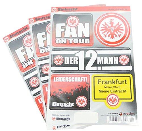 Daum - Pimp Up Your Life 4250294217233-Eintracht Frankfurt Fan Pegatinas para Auto, Pantalla de PVC, Resistente a Lavaderos, Resistente a los Rayos UV, Juego, DIN A5, Juego de 3