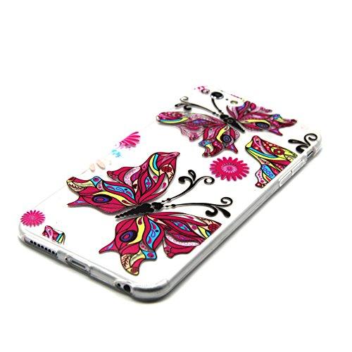 iPhone 5 5S Custodia, iPhone 5 5S Cover, iPhone 5 5S Case, Felfy Custodia Trasparente Chiaro Ultra Sottile Silicone Gel TPU Morbida Elegante Belle Rosa Farfalla Floral Fiore Bling di Scintillio del Di Colorato Farfalla
