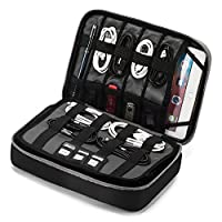 """BAGSMART Large Travel Electronic Accessories Thicken Cable Organizer Bag Portable Case for Hard Drives, Cables, Charge, Kindle, 9.7"""" iPad"""