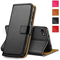 "Apple iPhone Genuine Leather Case, Premium Leather Wallet Case with [Kickstand] [Card Slots] [Magnetic Closure] Flip Notebook Cover Case for (iPhone 7/8 4.7"" Black)"