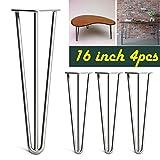 Haarnadel-Tischbeine, 40,6cm (16Zoll), 4x 3-Stahl blank, unlackiert, moderner Stil, Schreibtisch, Möbel, mit