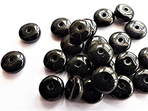 60 (PCS) X 6mm FLAT ROUND DISC SPACER RONDELLE CZECH GLASS BEADS - BLACK - D060