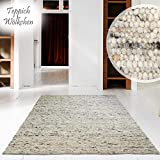 Hand-Web-Teppich | Reine Schur-Wolle im Skandinavischen Design | Wohnzimmer Esszimmer Schlafzimmer Flur Läufer | Grau Beige (Kiesel - 200 x 200 cm)
