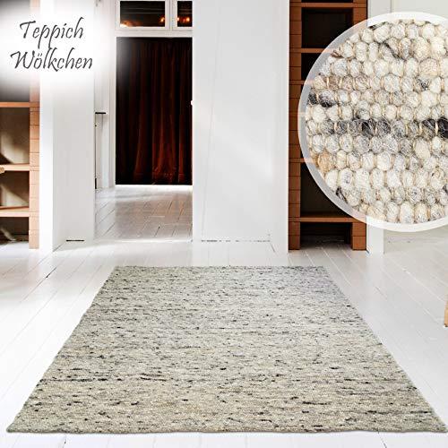 Hand-Web-Teppich | Reine Schur-Wolle im Skandinavischen Design |Für Wohnzimmer Esszimmer Schlafzimmer Flur Kinderzimmer | Grau Beige (Kiesel - 90 x 160 cm)