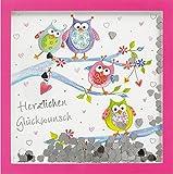 Glückwunschkarte SHAKE-Card Geburtstagskarte mit Eulen 15,5x15,5 cm 55-2018