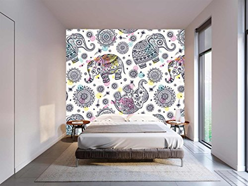 Fotomural Vinilo Pared Floral Elefantes Mandala | Fotomural para paredes | Mural...