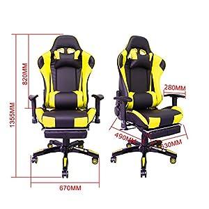 51bmWzhbXuL. SS300  - HG-Silla-giratoria-de-oficina-Silla-de-juego-Apoyabrazos-acolchados-Comfort-premium-Silla-de-carreras-Capacidad-de-carga-200-kg-Altura-ajustable-negro-amarillo