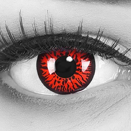 Red Kostüm Twilight Kontaktlinsen - Meralens 1 Paar farbige rote Crazy Fun red demon Jahres Kontaktlinsen.Topqualität zu Fasching und Karneval mit gratis Kontaktlinsenbehälter ohne Stärke!