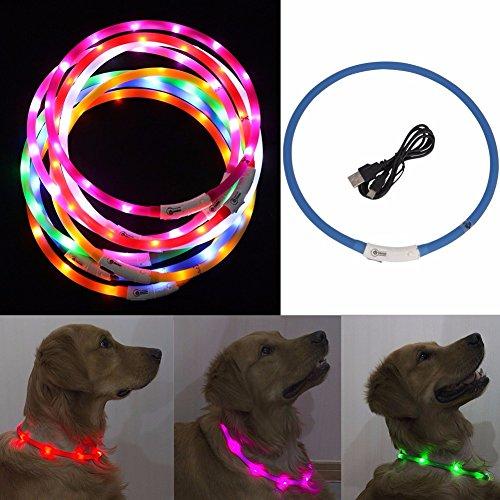 IEFIEL Collar Recargable Ajustable de Luz LED de Seguridad para Perro Gato Mascota con Cable USB de Goma Silicona Luminoso