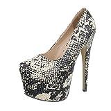 Ital-Design High Heel Pumps Damen-Schuhe High Heel Pumps Pfennig-/Stilettoabsatz High Heels Pumps Beige Multi, Gr 35, Xk-0007-