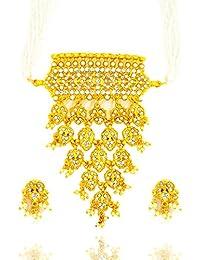 Aashya Mayro Padmavat Inspired Rajwadi Shiny Clear Stone And Pearl Choker Necklace Set (Timaniya) For Women Girls