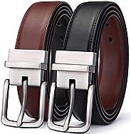 """DerRose Men's Belt, Bulliant Leather Reversible Belt 1.25"""" For Mens Dress Casual Golf Belt,One Revers"""