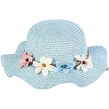 Leisial Lindo Sombrero para el Sol del Verano Gorra de Playa Paja con Flora  Grande ala 5803442f826