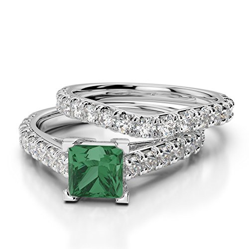 GH/vs 1carati taglio princess certificate smeraldo e diamante nuziale set & anello di fidanzamento in platino 950agdr-2007, platino, 13,5, cod. PT-E-Bridal-Set-2007-VSGH-N 1/2