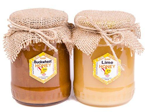 Miel de trigo sarraceno + miel de tilo con Polaco. 2 pack. Fresca. Sin pasteurizar, miel cruda. 2 kg. Miel polaco directamente del apicultor.
