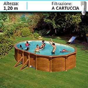 Gre Piscina fuoriterra in Acciaio Effetto Legno Ovale Sicilia 500 KITPROV503W