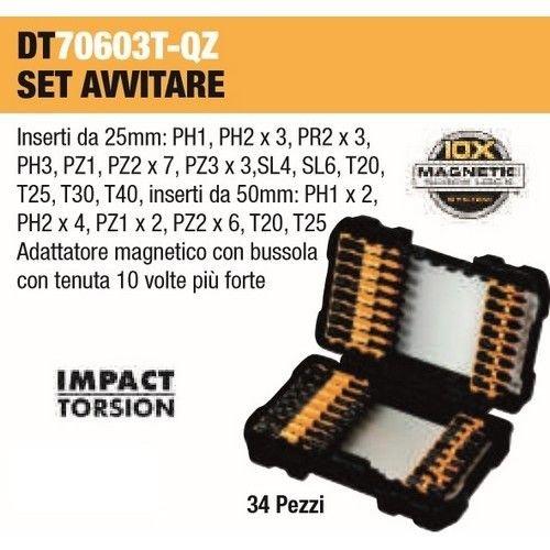 Set per avvitatura con 34Pz Impact Torsion + adattatore Magnetico Art.DT70603T DeWalt