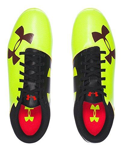 Under Armour Ua B Spotlight Dl Fg-r Jr, Chaussures de Football Garçon High-vis Yellow/ Rocket Red/ Black