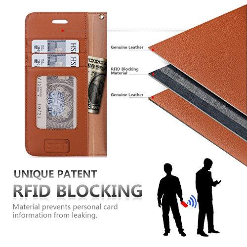 iPhone 8 Plus Hülle , iPhone 7 Plus Hülle, Fyy® [RFID Blockierender Geldbeutel] 100% handgenähter Geldbeutel mit Kartenhaltern für Apple iPhone 8/7 Plus ,Mintgrün B-Dunkelbraun