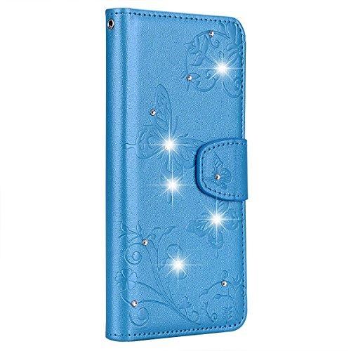 SainCat Kompatibel mit Huawei P20 Pro Hülle Schmetterling Leder Flip Case Glitzer Strass mit Spiegel Schützhülle Stoßfest Handyhülle Weicher Bookstyle PU Ledertasche-Blau