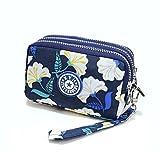Women Wallet Purse, Veriya Multifunction 3 Layer Zipper Wristlets Clutch Handbag Card Cash Key Holder Organiser Cell Phone Bag for iPhone6/7 Samsung S5 S6 S7 Under 5.5'' (Flower)