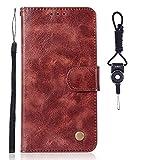 SsHhUu Custodia HTC One X10, Cover Portafoglio in Vera PU Pelle [Carta Fessura] [Magnetica Chiusura] + Cordoncino per HTC One X10 (5.5