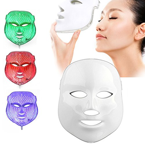 Weijin 3 Farben LED Maske Gold LED Licht Therapie treatment Gesicht Schönheit Skin Pflege Foto Therapie Maske für Akne Falten weiß (Foto-licht-therapie)