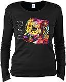 Damen Langarmshirt mit Motiv: Gratitude Pitbull - Hundemotiv - Geschenk - Pullover, Pulli - Farbe: schwarz