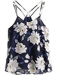 Blusas para mujer Switchali Mujer nuevo verano floral Corto Chaleco de honda Moda gasa Camisa dama linda hermosa Sin mangas Blusa de mujer