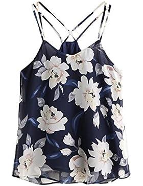 Blusas para mujer Switchali Mujer nuevo verano floral Corto Chaleco de honda Moda gasa Camisa dama linda hermosa...