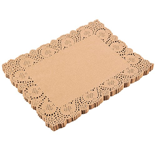 Juvale Tapetes de papel de encaje rectangular (paquete de 100) - Manteles individuales de papel decorativo a granel para postres y productos horneados - Marrón, 15.5 x 11.7 pulgadas