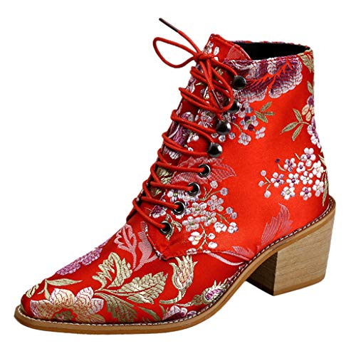 Silber Baggy Shorts (Embroidery Boot Women's Lace-Up Cloth Boots Pointed Toe Shoe Short Booties Rot (CN :43 / EU:41))