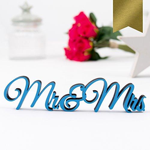 """Kleinlaut 3D-Schriftzug """"Mr & Mrs"""" in Größe: 25 x 5,9 cm - Dekobuchstaben - 32 Farben zur Wahl - Gold"""
